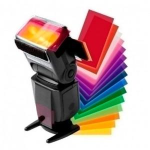 Conjunto de 12 Filtros Coloridos com Fixação para Flash