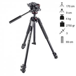 Manfrotto Tripé Completo MT190X3 + MHXPRO-2W