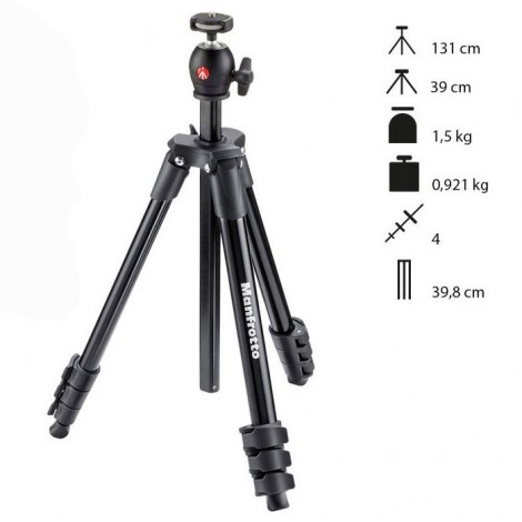 Manfrotto Tripé Compact Light - Preto