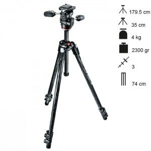 Manfrotto Tripé Carbono Completo MT290XTC3 + MH804-3W