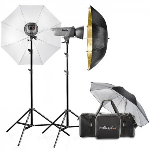 Walimex Pro Kit Flash VE-400/200 Excellence com Sombrinhas