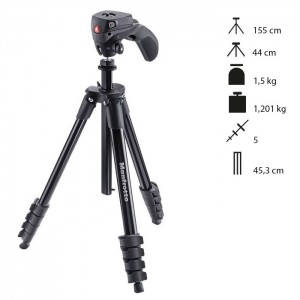 Manfrotto Tripé Compact Action - Preto