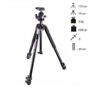 Manfrotto Tripé Completo MT190X3 + 496RC2